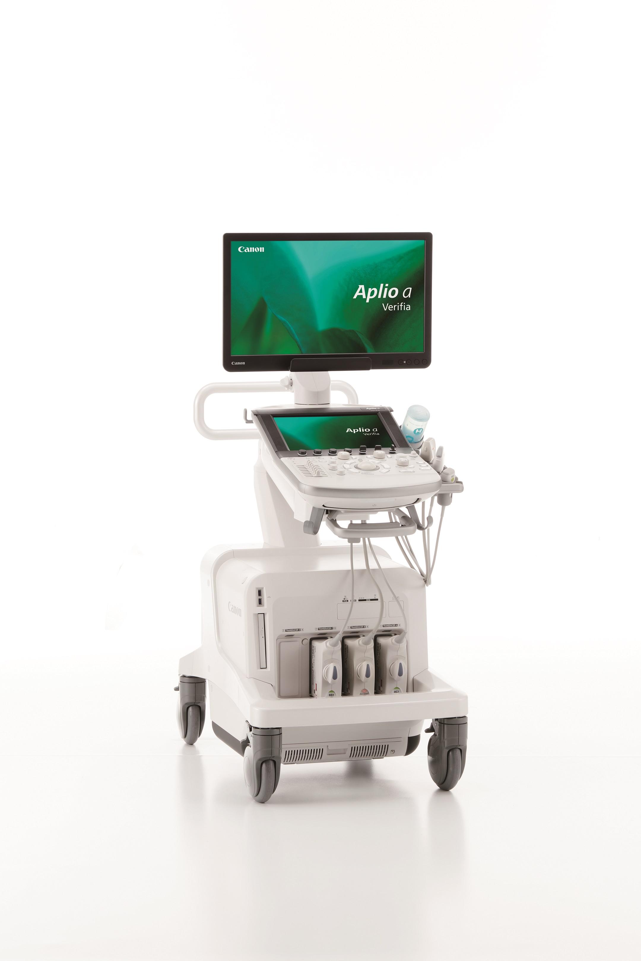 キヤノンメディカルシステムズ/無理のない姿勢で検査できる超音波診断装置「Aplio a/Verifia」の販売を開始